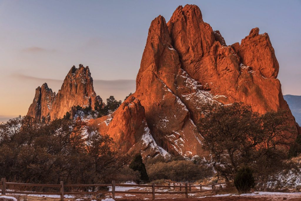 First light with a dusting of snow at Garden of the Gods, Colorado by Michael Ryno Photo @mnryno34