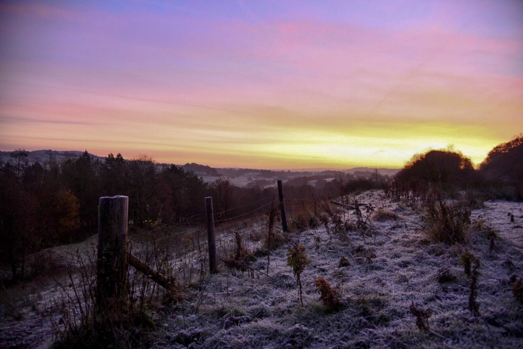 Frosty sunrise over Hoghton, Lancashire by Wendy Love @wendylov5