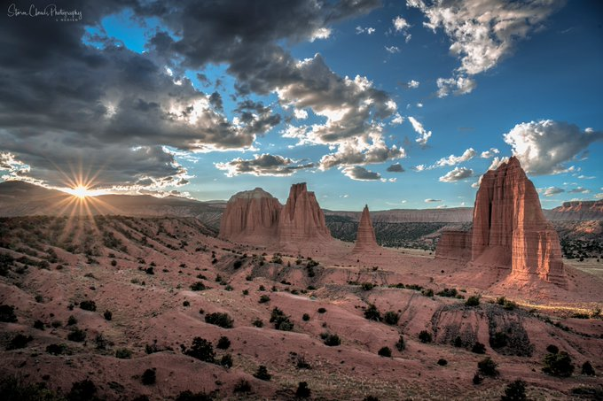 Setting sun in a valley in northern Utah by Laura Hedien- Storm Clouds Photography @lhedien