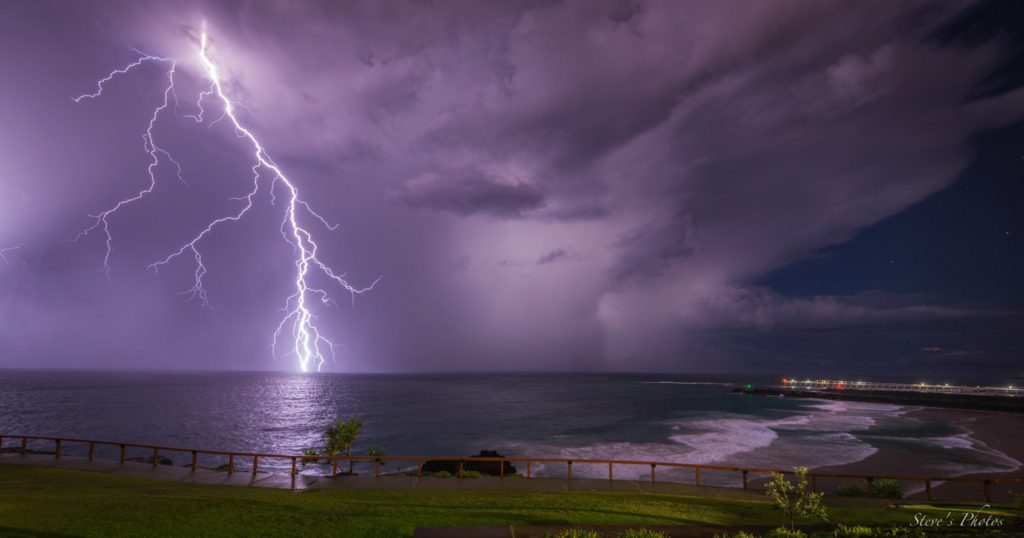 2nd Place A big bolt over Duranbah Beach on the Gold Coast, Australia by Steve Berardi @Marcus_0312