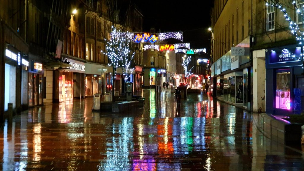 3rd Place Festive colours reflected on the wet streets of Stirling, Scotland by Graham Fraser @frasergj