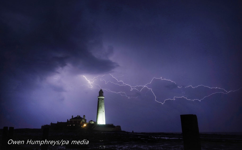Lighthouse lightning St Marys, Whitley Bay