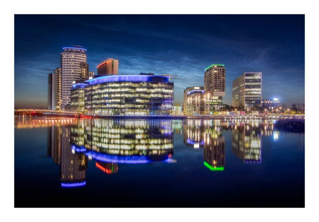 1st Place Noctilucent Clouds over Media City, Salford Quays, Manchester UK by Kieran Metcalfe @kiers