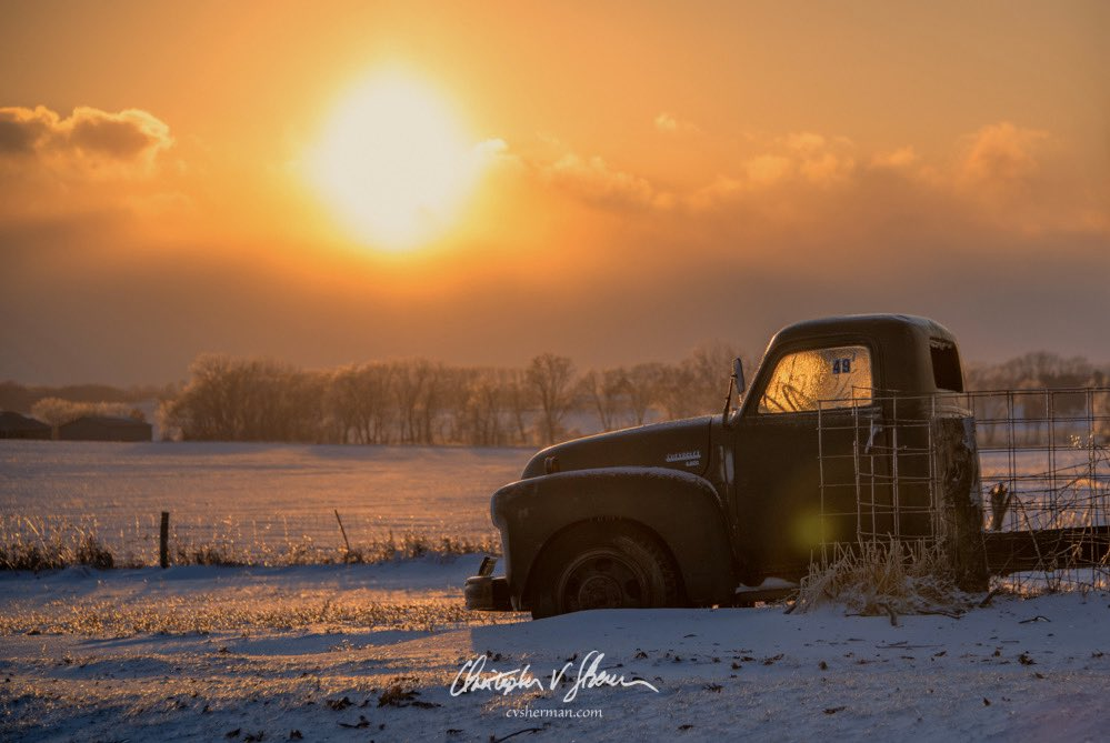 Deep freeze sunset in Iowa by Christopher V. Sherman Photography @cvsherman
