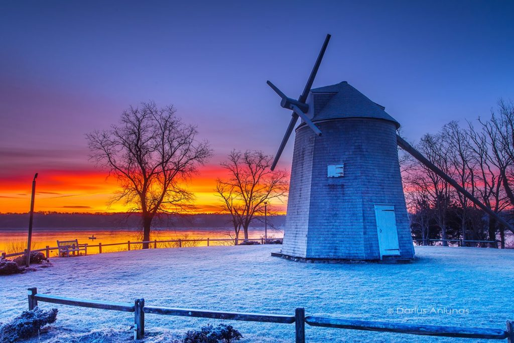 Stunning frosty sunrise at Orleans windmill, Cape Cod by Darius Aniunas @dariusaniunas