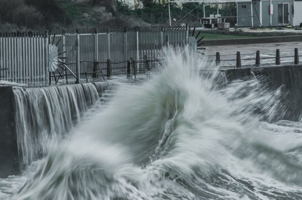 Waves in the harbour entrance at West Beach, Newhaven, Sussex UK by David George Burr @Bur1Burr