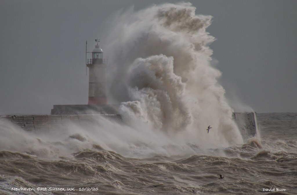 1st Place Storm Ciara moves away leaving surge & high seas at Newhaven, Sussex, UK by David George Burr @Bur1Burr