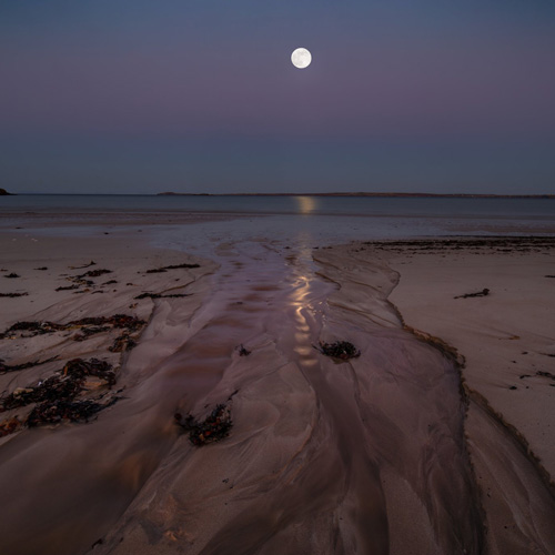 Header.1st Place The Flower Moon rising above the Belt of Venus taken from Gress Beach Isle of Lewis by Impact Imagz @ImpactImagz