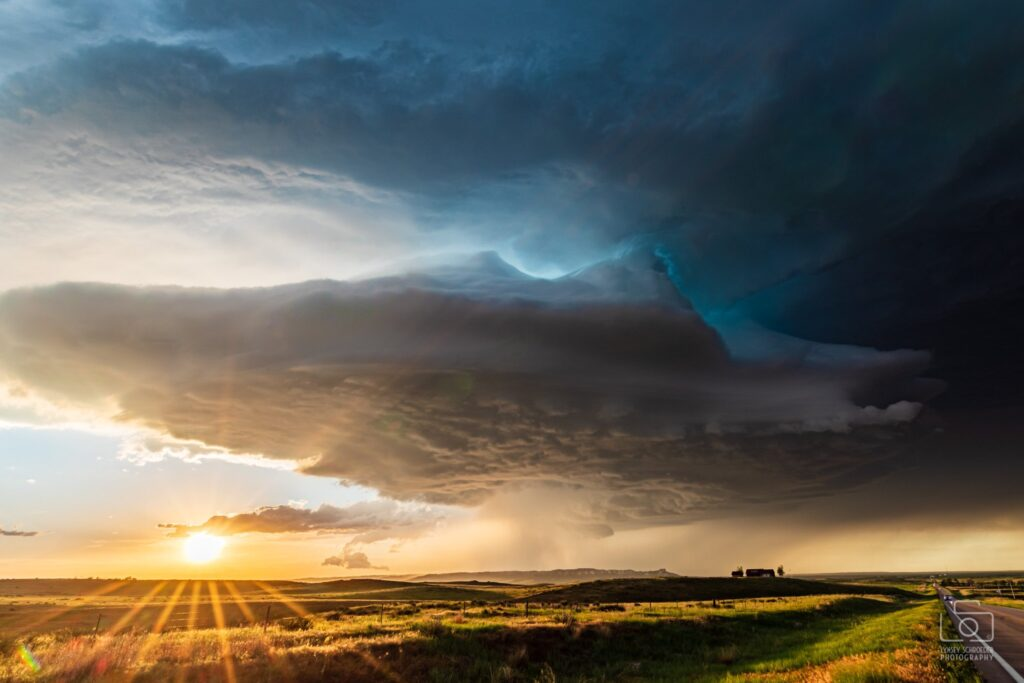 2nd Place Chasing unexpected supercell across the Nebraska panhandle at sunset by Lynsey Schroeder @LSchroederPhoto