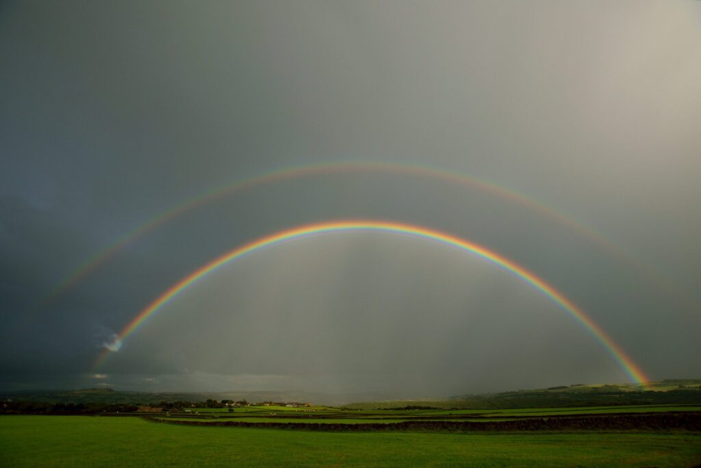 3rd Place Double rainbow in late evening light after a day of sunshine and showers in Huddersfield by Jane Brook @jayceb19