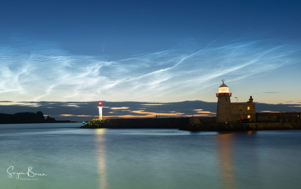 3rd Place Noctilucent clouds and Neowise comet visible at Howth Harbour, Dublin, Ireland by Sryan Bruen @sryanbruenphoto