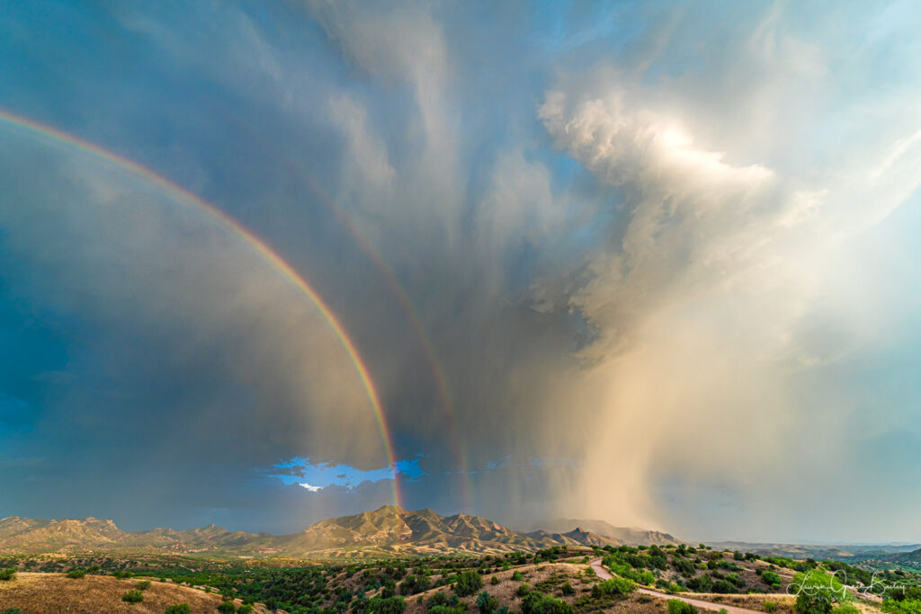 3rd Place Symmetrical rainbow and storm over Patagonia, Arizona by Lori Grace Bailey @lorigraceaz