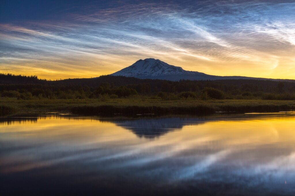 1st Place Noctilucent clouds over Mount Adams, Washington State by Dream Captured Images @NightSkyImages