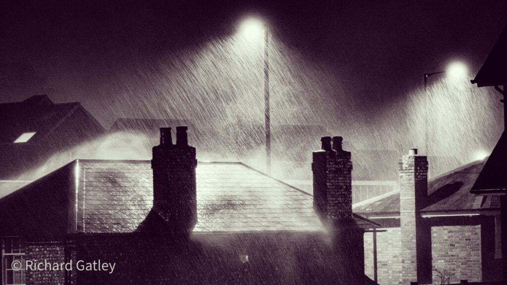 1st Place Torrential rain falling on the old Customs House by the Chichester Canal Basin by Richard Gatley @RGatley