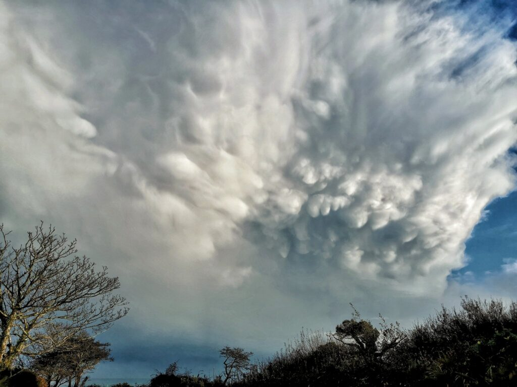 2nd Place Mammatus clouds from a passing downpour in Cornwall by Nick @Wx_NickJ