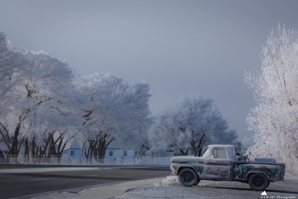 1st Place Morning fog lifts leaving the trees and an old pickup covered in frost in Northwest Wyoming by TankTopTony @TonyD2155