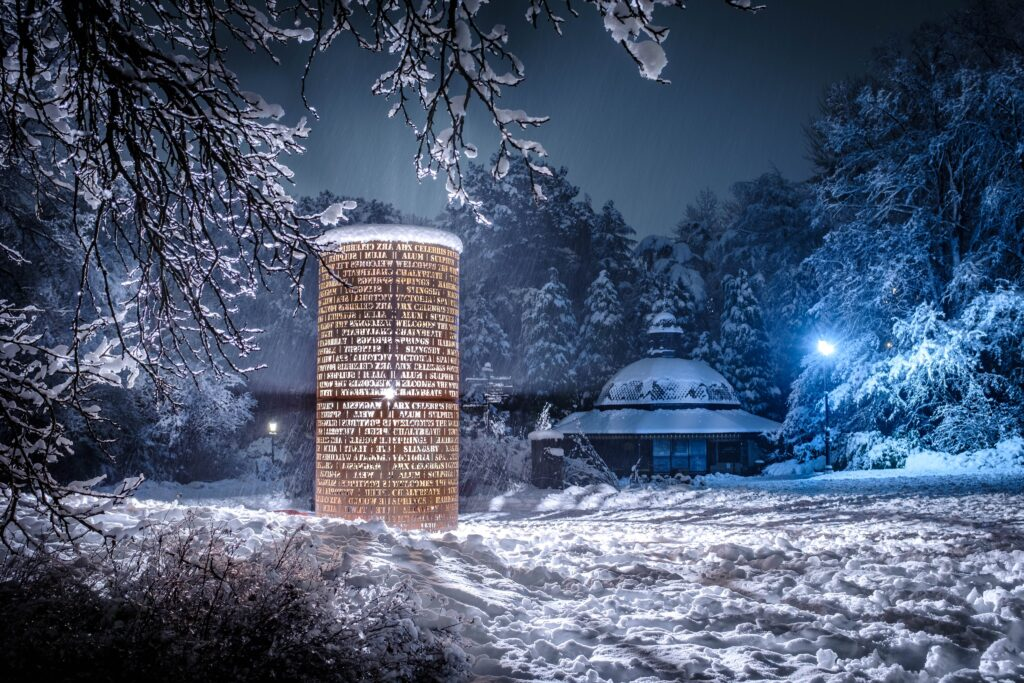 1st Place The 1571 statue in Harrogate lit up the snow on Friday evening Richard Maude @Silverginger