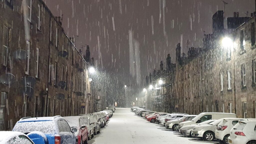2nd Place Snow shower at night in the streets of Stirling, Scotland by Graham Fraser @frasergj